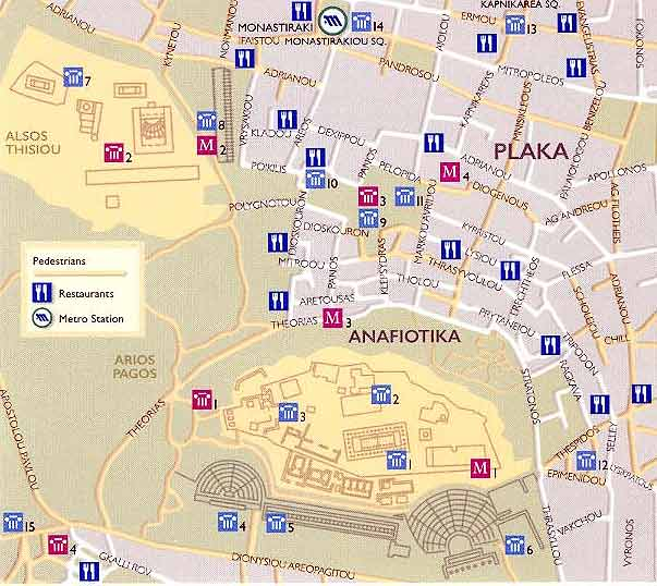 Plaka and Acropolis Athens map